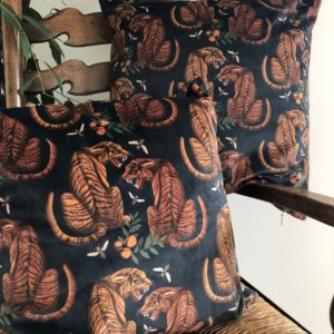 Luxury Velvet Cushion- Tiger Pattern