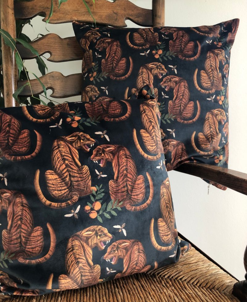 Luxury Velvet Cushion- Tiger Pattern