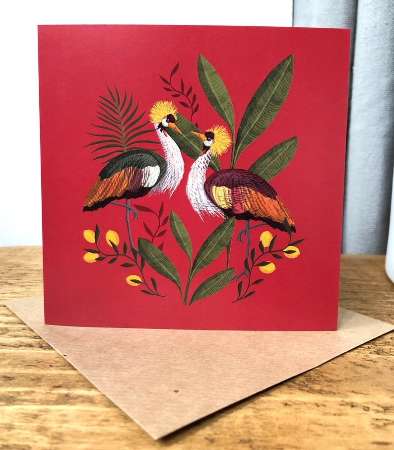 Crowned Crane (red background) Card
