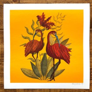 Scarlet Ibis on Yellow background
