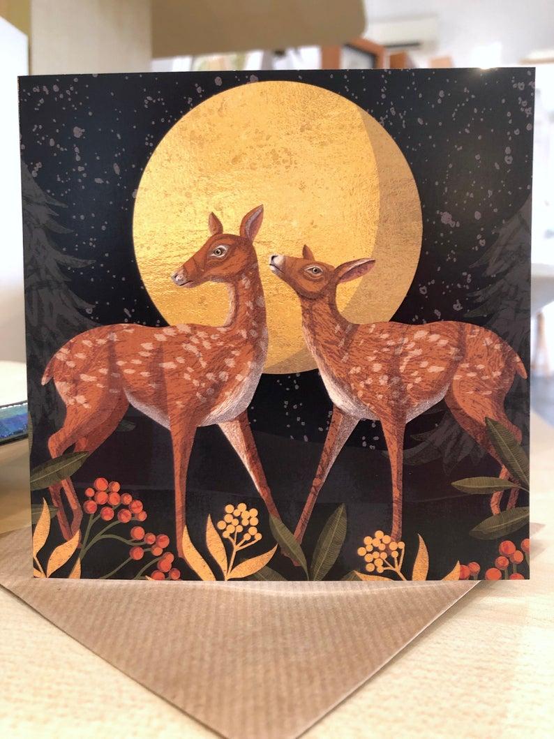 Deer in the Moonlight Card