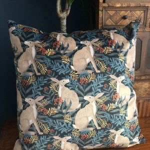 Luxury Velvet Cushion- Hare Pattern