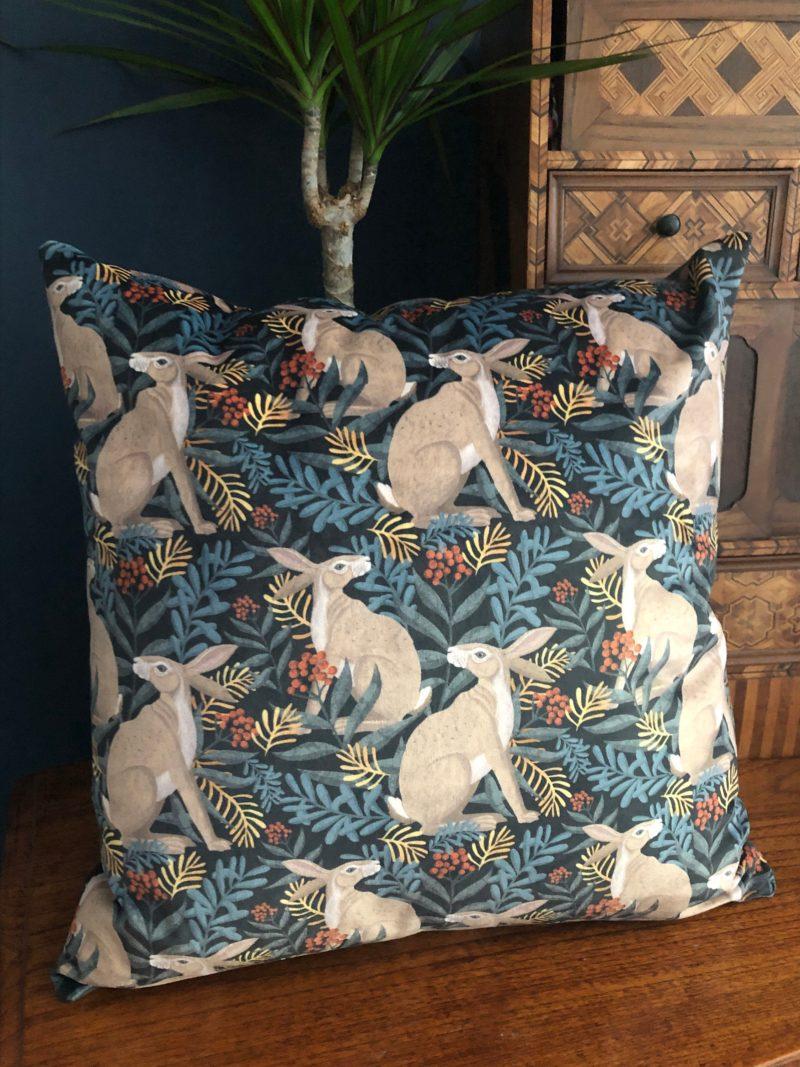 Luxury Velvet Cushion- Hare Pattern