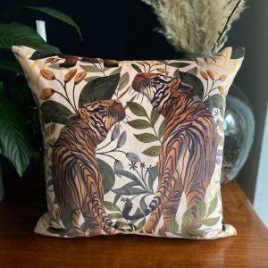 Luxury Velvet Cushion- Tiger II Cream by Lucy Rose
