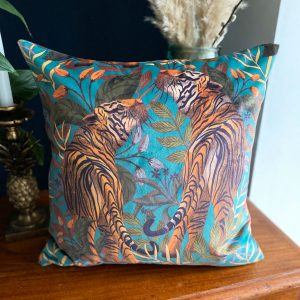 Luxury Velvet Cushion- Tigers II blue for sale by Illustrator Lucy Rose