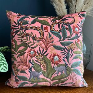 Luxury Velvet Cushion- Tropical Mania Pink for sale by Illustrator Lucy Rose