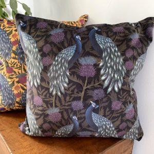 Luxury Velvet Cushion- Peacock for sale by Illustrator Lucy Rose