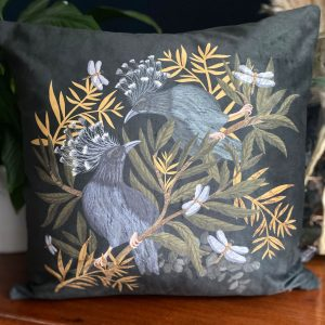 Velvet Cushion, Crowned Pigeon for sale by illustrator Lucy Rose