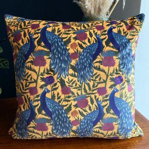 Velvet Cushion- Peacock in Yellow for sale by illustrator Lucy Rose