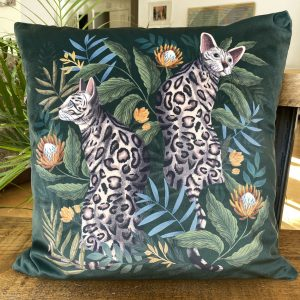 Bengal Cat, Luxury velvet cushion by Lucy Rose