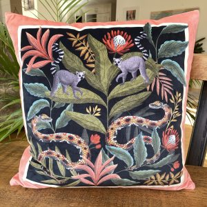 Tropical Mania II, Velvet cushion by Lucy Rose