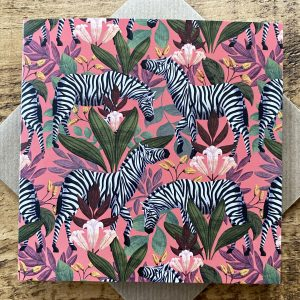 Zebra Mania Card- Pink by Lucy Rose