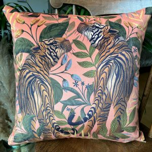 Pink Tiger II luxury velvet cushion, designed by Lucy Rose